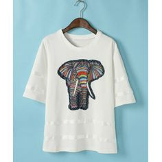 Color Block 1/2 Length Sleeve Elephant Print Casual Women's T-shirt