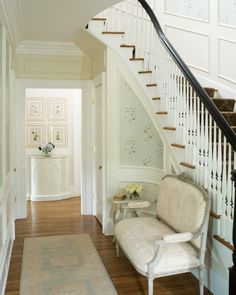 Gorgeous hallway designed by Laura Casey!  Especially love the stair runner (from Stark).