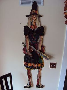 "Vintage Halloween Decoration ~ Life Size 66"" Tall Die Cut Jointed Witch w/ Black Cat"