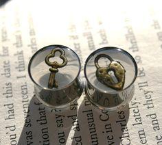 "9/16"" Lock and Key Resin Plugs for gauged ears gauges. $30.00, via Etsy."