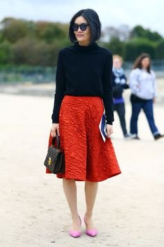 Miao Miao, Paris // Navy Blue Sweater, Textured Red Skirt, FENDI Monogrammed Bag, and Pink Heels