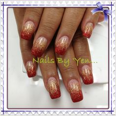 #gradient #ombre ...HAPPY VIETNAMESE/CHINESE NEW YEAR!!!  Thank you Mrs Rose!  Red and gold glitter faded acrylic nails.