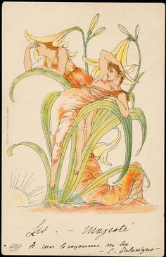 Illustration from a series based on 'Flora's Feast' by Walter Crane (1845–1915).