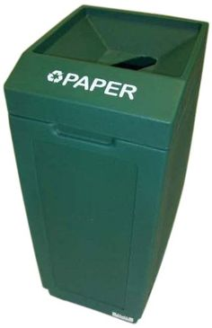 Forte 8001837 Paper Open Top Recycle Bin, 14.5-Inch Length x 21.5-Inch Width x 36-Inch Height, Green