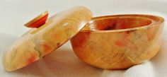 Bowl with lid in Flame Box Elder - natural coloring SOLD
