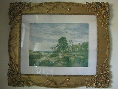 Gesso Gold Ornate Victorian Picture Frame Glass 1909 Blue Anchor Inn Print | eBay