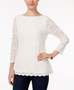Charter Club Petite Boat-Neck Lace Top, Only at Macy's