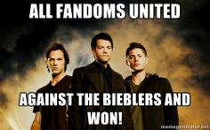 """Don't mess with us!!! """"Last night's Supernatural (1/21/14) was the series' most watched episode (2.7M) in more than three years. Week to week, Supernatural was up 22% in total viewers and up 10% in both W18-34 (1.1/3) and in A18-49 (1.1/3), and flat in A18-34 (0.9/3). Supernatural outrated original episodes of ABC's comedies in the 9pm hour in A18-34, A18-49, and W18-34."""""""