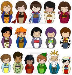 Kokeshi male Disney characters. Too cute!