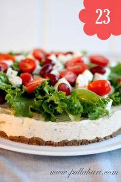 Pullahiiren leivontanurkka: kreikkalainen voileipäkakku Sandwiches, Sandwich Cake, Savoury Baking, Savoury Cake, Finnish Recipes, Salty Foods, Sweet Bakery, Salty Cake, Savory Snacks
