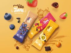 Cereal bar - Vita Tiens on Behance Cereal Packaging, Chip Packaging, Biscuits Packaging, Cheese Packaging, Honey Packaging, Cookie Packaging, Food Packaging Design, Chocolate Packaging, Packaging Design Inspiration