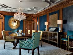 Dark Blue Dining Room, Blue Color Schemes, Dining Room Design, Upholstery, Dining Table, Interior Design, Armchairs, Manchester, Paint Colors