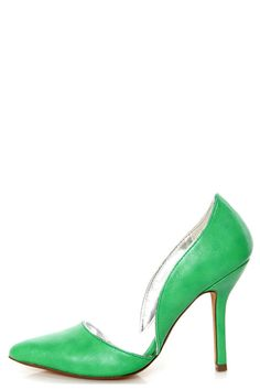 C Label Luxe 4 Green and Silver D'Orsay Pointed Pumps - $35.00
