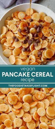 Vegan Pancake Cereal Recipe (Vegan Version of TikTok Recipe) Chocolate Pancakes, Vegan Pancakes, Vegan Chocolate, Cereal Recipes, Vegan Dessert Recipes, Baking Recipes, Vegetarian Recipes, Desserts, Vegan Finger Foods