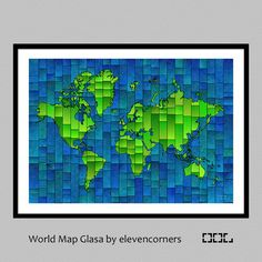 World Map Glasa a map of the world art print by by elevencorners