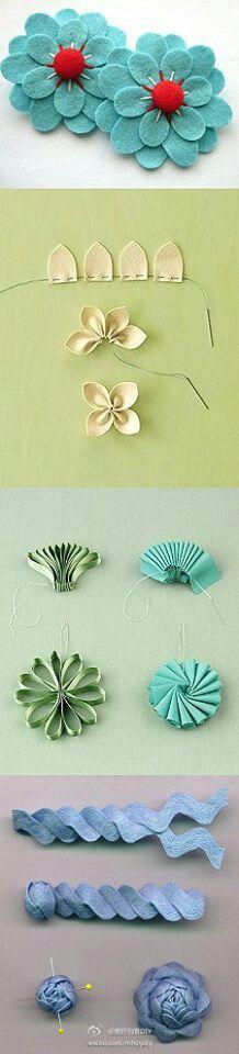 Flores hechas con cintas y zig zag