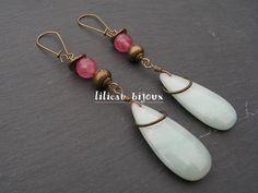longues boucles d'oreilles bohème bronze antique pierre d'agate et perles de tourmaline : Boucles d'oreille par lilicat