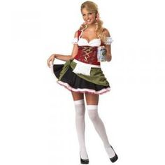 Another round of drinks, colorful jacquard ribbon trims the bavarian bar maid, beautifully framing the silver filigree buttons that uniquely function to create a corset effect the sexy sweetheart neck line and attached puff sleeve have white ruffles #halloween #costume #womens #maid http://www.thinkfasttoys.com/California-Costumes-Bavarian-Olive-Small/dp/B004UULGQ8