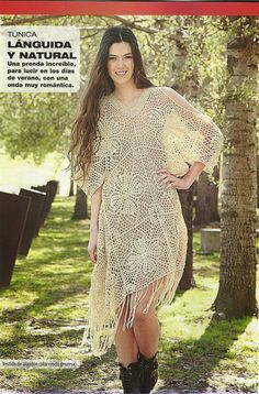 Irish crochet &: Кружевная туника из мотивов. Схемы.