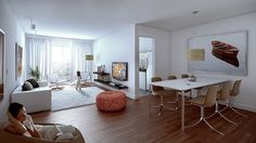 Living Room, Minimalist Living Room And Dining Room Decoration Ideas From White Wall Interior With Great Natural Lighting From Bay Window With White Curtains And White And Wooden Flooring With White Rug Design: Remarkable Living and Dining Room Design Ideas