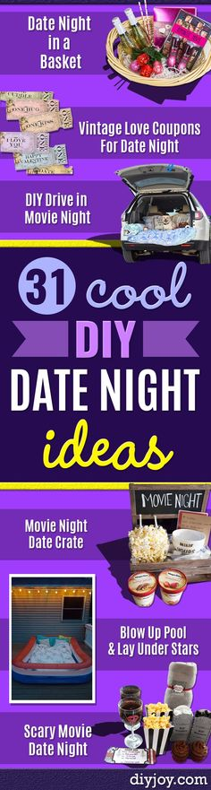 DIY Date Night Ideas - Creative Ways to Go On Inexpensive Dates - Creative Ways for Couples to Spend Time Together - Cute Kits and Cool DIY Gift Ideas for Men and Women - Cheap Ways to Have Fun With Your Husbnad or Wife, Girlfriend or Boyfriend - Valentines Day Date Ideas diyjoy.com/...