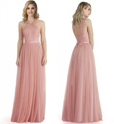6bf5715ebfb Stock Dusky Pink Long Tulle Wedding Bridesmaid Dress Womens Evening Prom  Gowns  afflink