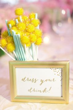 dress your drink sign http://www.weddingchicks.com/2013/09/04/gold-and-mint-wedding-ideas/