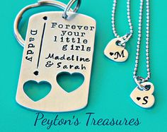 Father's Day Set- Hand Stamped Keychain- Key Chain- Dog Tag with Heart Necklaces- Forever Your Little Girls- Daddy Keychain- Dad Gift- Twins