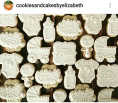 White on white baby shower cookies