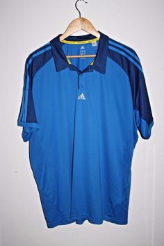 Adidas Climacool Polo T-shirt Fitness Sport Football Blue Stripped Back Size XXL