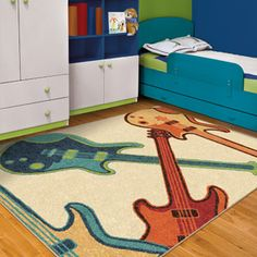 Orian Guitar Fun Kids' Area Rug- For the music room later?