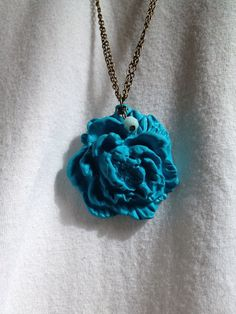Large Flower Cabochon Necklace  Teal Bloom by adieslovelies, $12.50