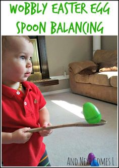 Easter Egg Spoon Balancing Activity. This balancing activity is so funny. Handle a wooden spoon to balance the Easter egg, make sure that you can't drop the Easter egg. I like this idea for it can train the balance ability for kids. http://hative.com/fun-easter-activities-and-games-for-kids/