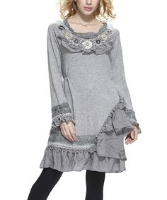 Another great find on #zulily! Gray Asymmetrical Ruffle Peasant Tunic by Simply Couture #zulilyfinds