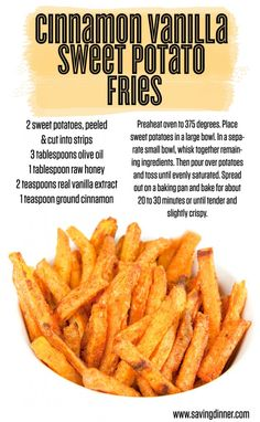 Cinnamon Vanilla Sweet Potato Fries recipe from Saving Dinner