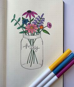 Spring is in the air and here to inspire your bujo obsession are 101 May cover page ideas you're going to love! - 101 Pretty May Bullet Journal Cover Page Ideas - Bliss Degree Bullet Journal Inspo, Journal D'inspiration, Bullet Journal Cover Ideas, Bullet Journal Notebook, Bullet Journal Aesthetic, Bullet Journal Ideas Pages, Bullet Journal Layout, Journal Covers, Bullet Journal Lettering Ideas