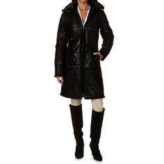 Abrigo de piel con capucha y pelo - negro ISACO & KAWA 666AY-NOIR