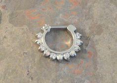 16 Gauge Sparkly Septum Ring Clicker Daith Ring by MidnightsMojo