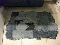 Bathmat made from recycled denim jeans pockets.