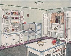 This article/advertisment was published in the March 1924 Ladies Home Journal and the image featured was the latest Hoosier kitchen.  I like the diamond-paned casement windows.