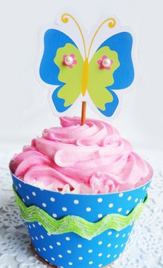 Printable Butterfly Cupcake Topper with Matching Wrapper with Tutorial