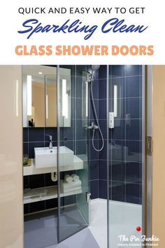 Quick and easy way to clean glass shower doors. Cleans hard water and scum build up and gets them sparkling clean in minutes!