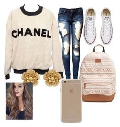 """""""I still like him"""" by lolblingqueen ❤ liked on Polyvore featuring Chanel, Converse, Rip Curl, Agent 18 and Miriam Haskell"""