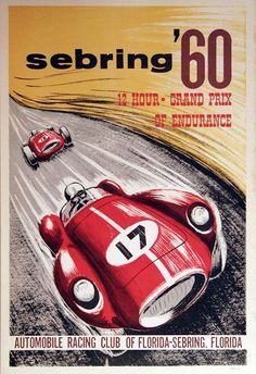 1960 Sebring Race Poster - Ferrari