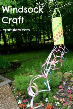 This windsock craft was really fun to make and it also doubled as a fun dancing accessory! Sock Crafts, Fun Crafts, Arts And Crafts, Paper Crafts, Summer Crafts For Kids, Crafts For Kids To Make, Summer Fun, Spring Crafts, Outdoor Activities For Kids