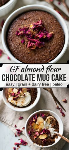 A healthier chocolate cake that goes from zero to done in about ten minutes! This almond chocolate mug cake is so easy to make and is gluten free, grain free and dairy free. #mugcake #paleo #almondflour