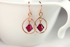 Rose Gold Ruby Earrings Wire Wrapped Jewelry by JessicaLuuJewelry