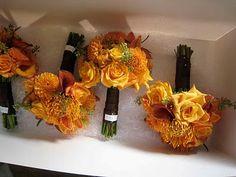 orange bouquet for bridesmaids