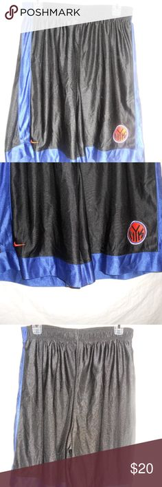 Nike New York Knicks Basketball Shorts Size Large Nike New York Knicks Basketball Shorts Black and Blue Size Large. Have tie string closure and in really nice condition. Nike Shorts Athletic