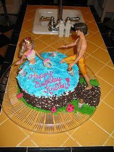 White trash, hot tubbin' Barbie cake I made! facebook.com/haywiredesign